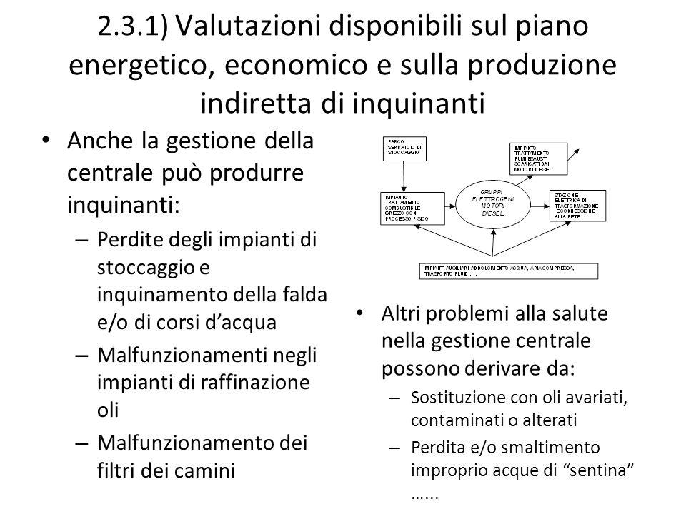 2.3.1) Valutazioni disponibili sul piano energetico, economico e sulla produzione indiretta di inquinanti Anche la gestione della centrale può produrr