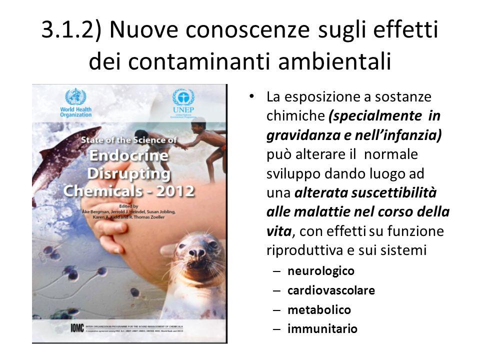 3.1.2) Nuove conoscenze sugli effetti dei contaminanti ambientali La esposizione a sostanze chimiche (specialmente in gravidanza e nellinfanzia) può a