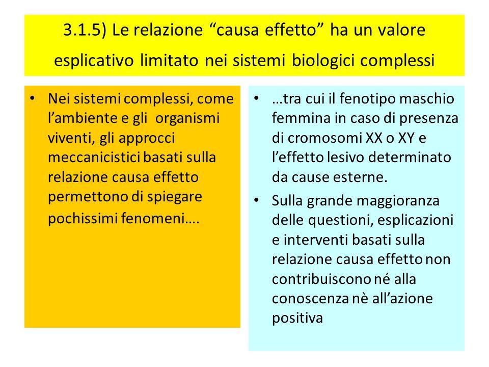 3.1.5) Le relazione causa effetto ha un valore esplicativo limitato nei sistemi biologici complessi Nei sistemi complessi, come lambiente e gli organi