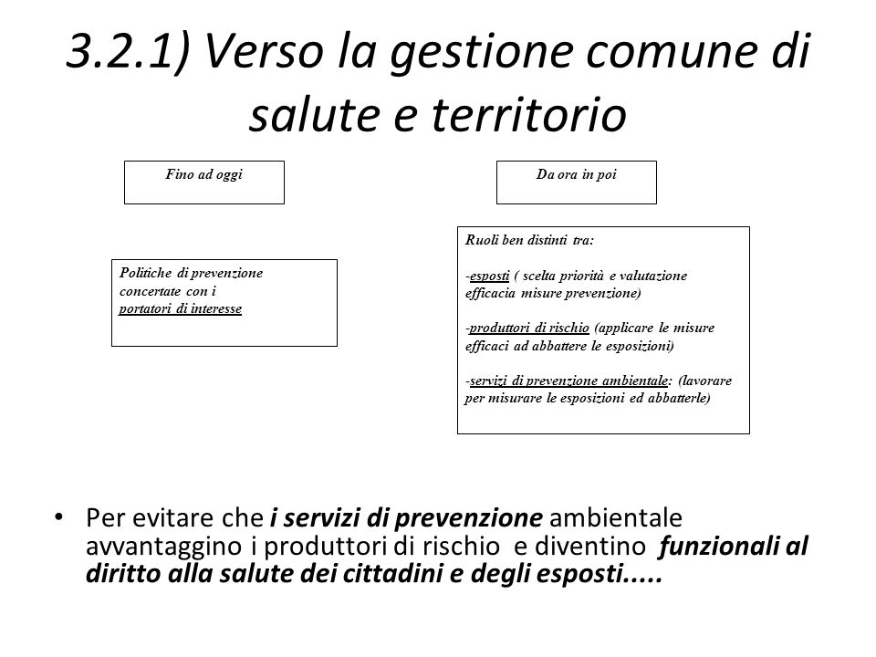 3.2.1) Verso la gestione comune di salute e territorio Per evitare che i servizi di prevenzione ambientale avvantaggino i produttori di rischio e dive