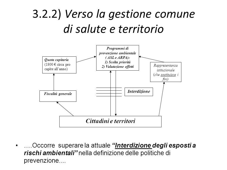 3.2.2) Verso la gestione comune di salute e territorio ….Occorre superare la attuale Interdizione degli esposti a rischi ambientali nella definizione
