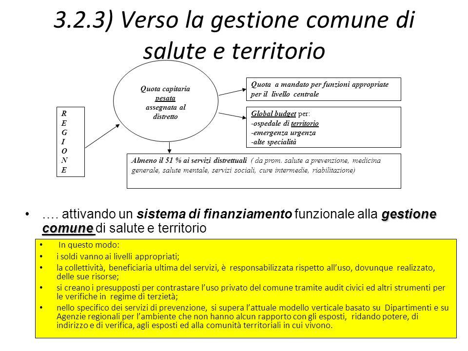 3.2.3) Verso la gestione comune di salute e territorio In questo modo: i soldi vanno ai livelli appropriati; la collettività, beneficiaria ultima del