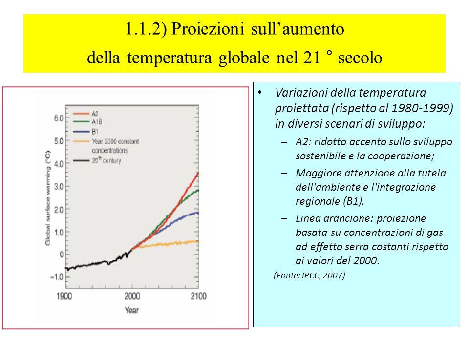 1.1.2) Proiezioni sullaumento della temperatura globale nel 21 ° secolo Variazioni della temperatura proiettata (rispetto al 1980-1999) in diversi scenari di sviluppo: – A2: ridotto accento sullo sviluppo sostenibile e la cooperazione; – Maggiore attenzione alla tutela dell ambiente e l integrazione regionale (B1).