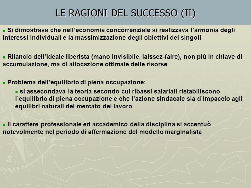 LE RAGIONI DEL SUCCESSO (I) CAUSE ENDOGENE Lacune del sistema classico : teoria del valore-lavoro, anche nella variante ricardiana del costo di produz