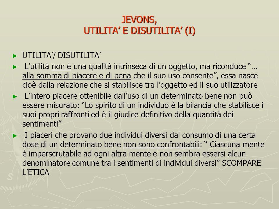 Sequenza Jevonsiana (per la formulazione della teoria dello scambio) Utilità e disutilità Utilità e disutilità Allocazione Allocazione Scambio Scambio