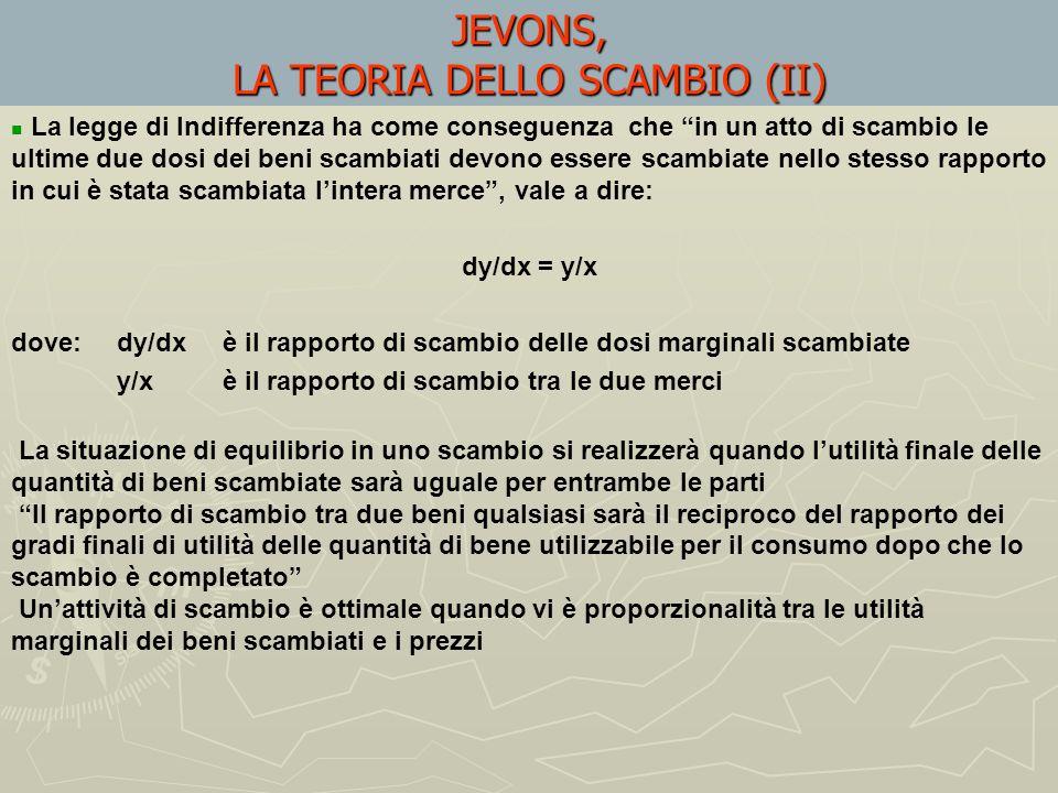 JEVONS, LA TEORIA DELLO SCAMBIO (I) Il teorema dellallocazione è alla base della teoria jevonsiana dello scambio Jevons intende il valore duso smithia