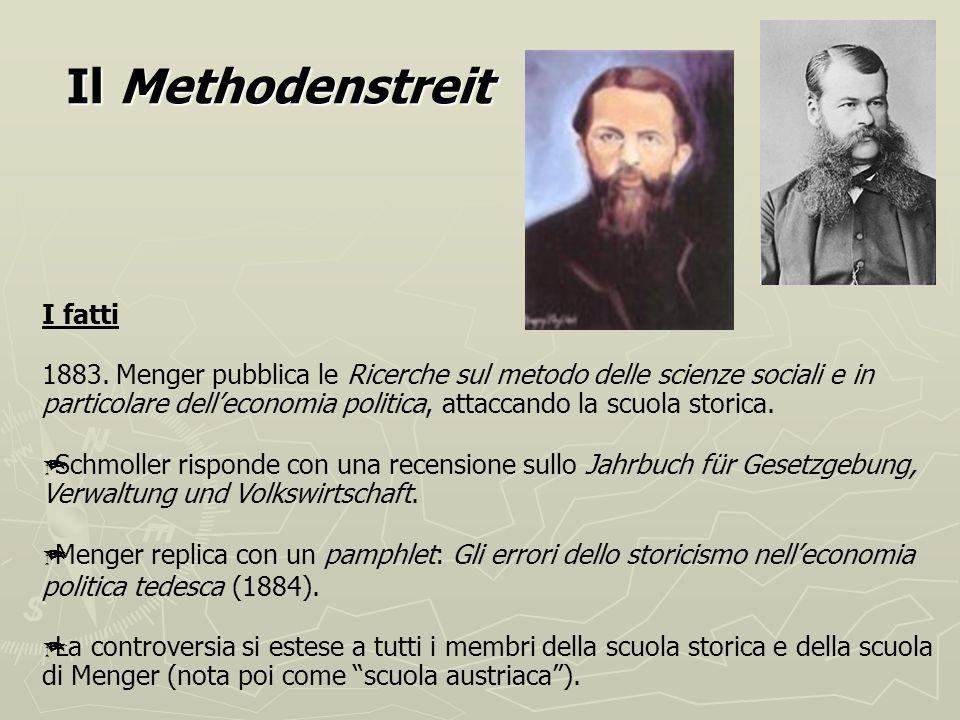 B. nuova scuola storica Gustav Schmoller (1838-1917) Riprende limpostazione storicistica E contrario a separare lanalisi dei fenomeni economici da que