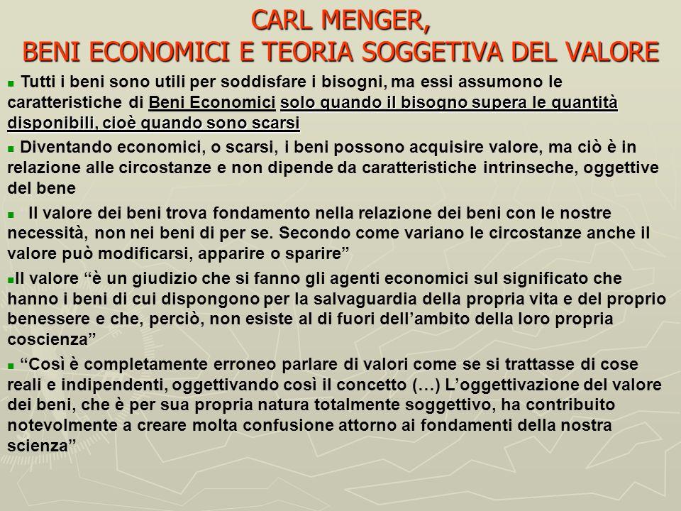 CARL MENGER, I FONDAMENTI TEORICI Per comprendere la battaglia teorica intrapresa da Menger sullaltro fronte, quello della critica delleconomia politi