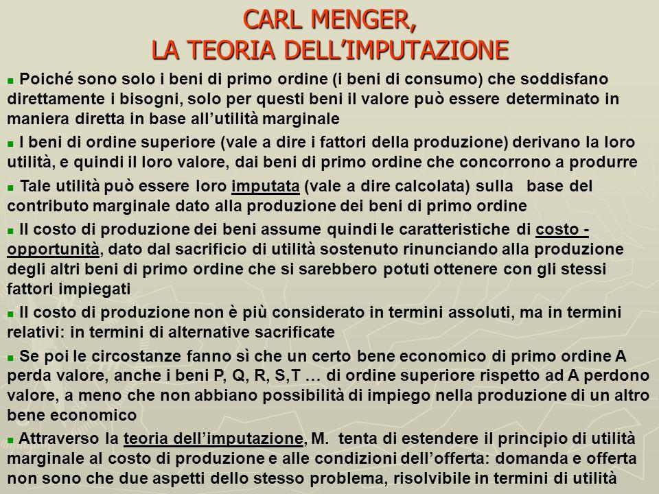 CARL MENGER, LALLOCAZIONE COME PROCESSO SEQUENZIALE (II) La matematicizzazione dellanalisi economica appare perciò a Menger come distorsiva, perché no