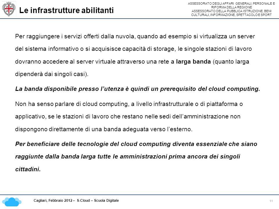 ASSESSORATO DEGLI AFFARI GENERALI, PERSONALE E RIFORMA DELLA REGIONE ASSESSORATO DELLA PUBBLICA ISTRUZIONE, BENI CULTURALI, INFORMAZIONE, SPETTACOLO E SPORT Cagliari, Febbraio 2012 – S-Cloud – Scuola Digitale Le infrastrutture abilitanti 11 Per raggiungere i servizi offerti dalla nuvola, quando ad esempio si virtualizza un server del sistema informativo o si acquisisce capacità di storage, le singole stazioni di lavoro dovranno accedere al server virtuale attraverso una rete a larga banda (quanto larga dipenderà dai singoli casi).