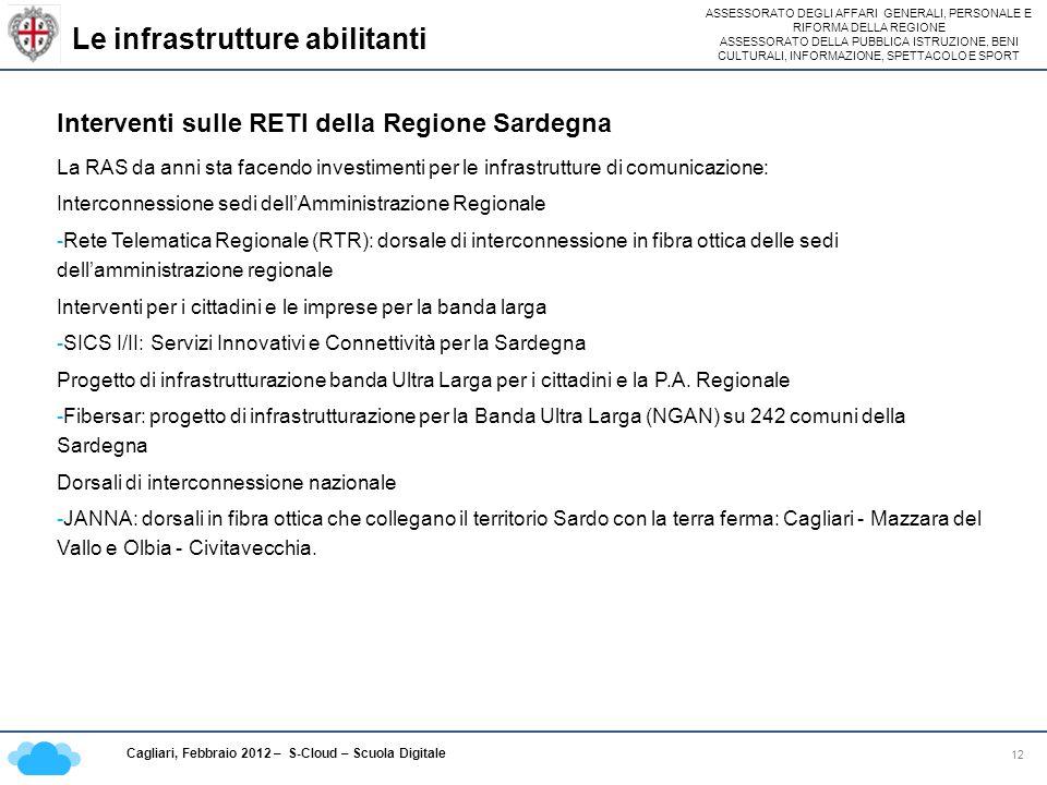 ASSESSORATO DEGLI AFFARI GENERALI, PERSONALE E RIFORMA DELLA REGIONE ASSESSORATO DELLA PUBBLICA ISTRUZIONE, BENI CULTURALI, INFORMAZIONE, SPETTACOLO E SPORT Cagliari, Febbraio 2012 – S-Cloud – Scuola Digitale Le infrastrutture abilitanti 12 Interventi sulle RETI della Regione Sardegna La RAS da anni sta facendo investimenti per le infrastrutture di comunicazione: Interconnessione sedi dellAmministrazione Regionale -Rete Telematica Regionale (RTR): dorsale di interconnessione in fibra ottica delle sedi dellamministrazione regionale Interventi per i cittadini e le imprese per la banda larga -SICS I/II: Servizi Innovativi e Connettività per la Sardegna Progetto di infrastrutturazione banda Ultra Larga per i cittadini e la P.A.