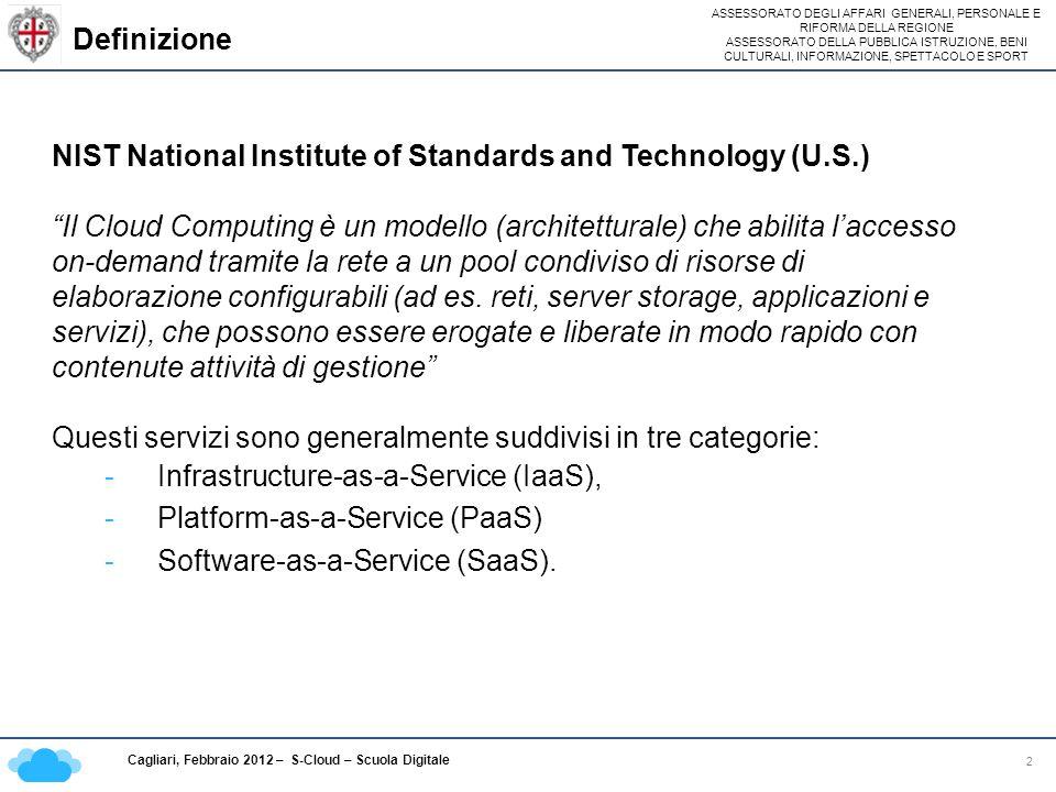 ASSESSORATO DEGLI AFFARI GENERALI, PERSONALE E RIFORMA DELLA REGIONE ASSESSORATO DELLA PUBBLICA ISTRUZIONE, BENI CULTURALI, INFORMAZIONE, SPETTACOLO E SPORT Cagliari, Febbraio 2012 – S-Cloud – Scuola Digitale Le infrastrutture abilitanti 13 Progetto JANNA JANNA nasce nel 2003 su iniziativa dellAssessorato dellIndustria della Regione Autonoma della Sardegna; Lobiettivo è stato quello di realizzare la continuità territoriale telematica tra lisola e la penisola attraverso due collegamenti in cavo sottomarino a fibre ottiche tra la Sardegna e il Lazio e la Sicilia; Rete di Transito Nazionale (fibra ottica sottomarina) - Olbia – Civitavecchia, lunghezza 253 Km - Cagliari - Mazara del Vallo, lunghezza 377 Km