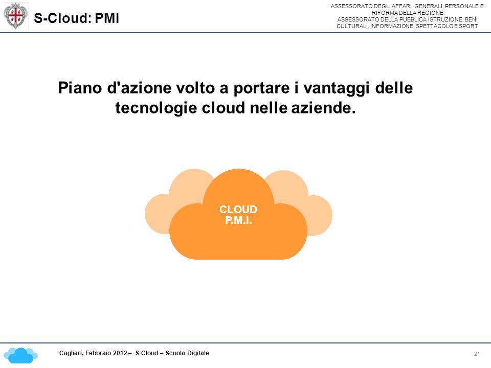 ASSESSORATO DEGLI AFFARI GENERALI, PERSONALE E RIFORMA DELLA REGIONE ASSESSORATO DELLA PUBBLICA ISTRUZIONE, BENI CULTURALI, INFORMAZIONE, SPETTACOLO E SPORT Cagliari, Febbraio 2012 – S-Cloud – Scuola Digitale S-Cloud: PMI 21 CLOUD P.M.I.