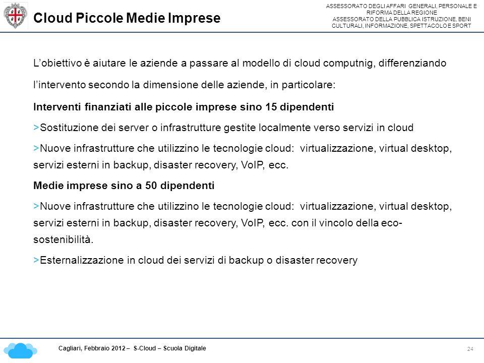 ASSESSORATO DEGLI AFFARI GENERALI, PERSONALE E RIFORMA DELLA REGIONE ASSESSORATO DELLA PUBBLICA ISTRUZIONE, BENI CULTURALI, INFORMAZIONE, SPETTACOLO E SPORT Cagliari, Febbraio 2012 – S-Cloud – Scuola Digitale Cloud Piccole Medie Imprese 24 Lobiettivo è aiutare le aziende a passare al modello di cloud computnig, differenziando lintervento secondo la dimensione delle aziende, in particolare: Interventi finanziati alle piccole imprese sino 15 dipendenti >Sostituzione dei server o infrastrutture gestite localmente verso servizi in cloud >Nuove infrastrutture che utilizzino le tecnologie cloud: virtualizzazione, virtual desktop, servizi esterni in backup, disaster recovery, VoIP, ecc.