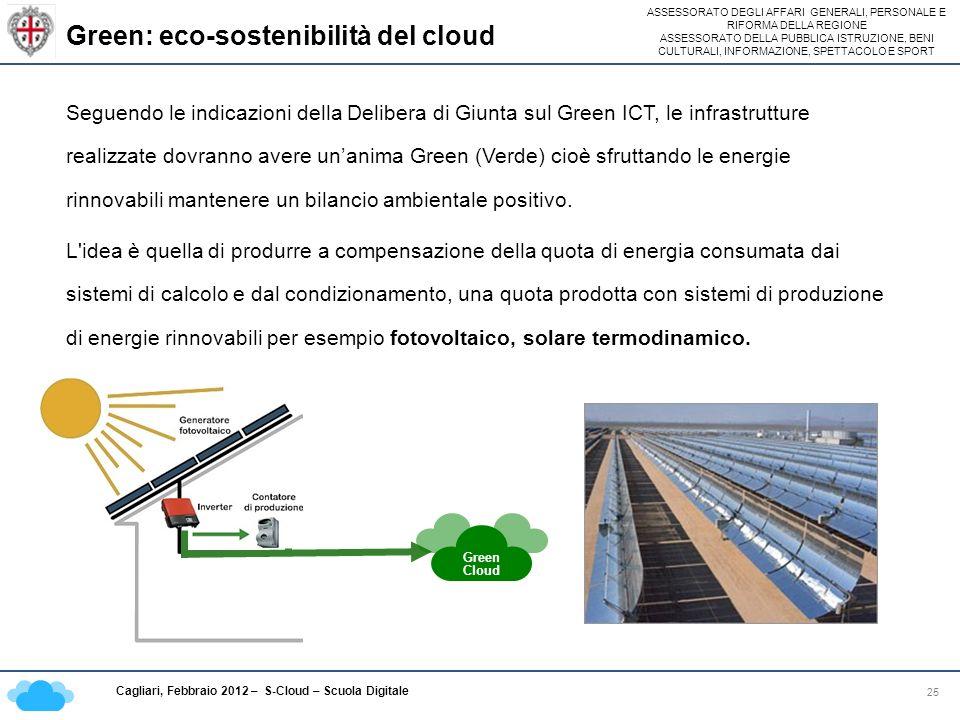 ASSESSORATO DEGLI AFFARI GENERALI, PERSONALE E RIFORMA DELLA REGIONE ASSESSORATO DELLA PUBBLICA ISTRUZIONE, BENI CULTURALI, INFORMAZIONE, SPETTACOLO E SPORT Cagliari, Febbraio 2012 – S-Cloud – Scuola Digitale Green: eco-sostenibilità del cloud 25 Seguendo le indicazioni della Delibera di Giunta sul Green ICT, le infrastrutture realizzate dovranno avere unanima Green (Verde) cioè sfruttando le energie rinnovabili mantenere un bilancio ambientale positivo.