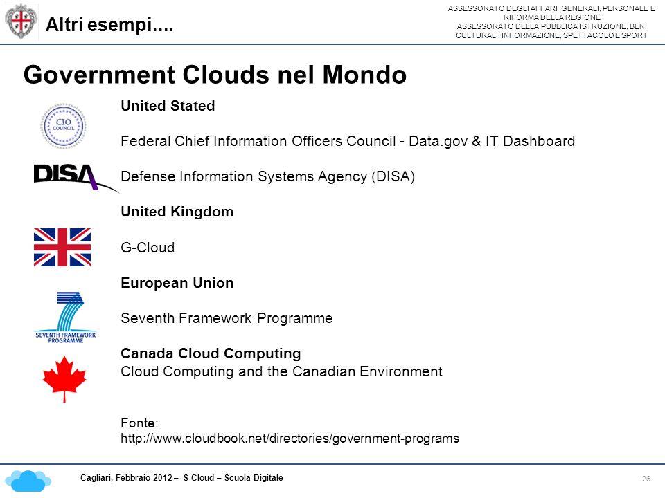 ASSESSORATO DEGLI AFFARI GENERALI, PERSONALE E RIFORMA DELLA REGIONE ASSESSORATO DELLA PUBBLICA ISTRUZIONE, BENI CULTURALI, INFORMAZIONE, SPETTACOLO E SPORT Cagliari, Febbraio 2012 – S-Cloud – Scuola Digitale Altri esempi....