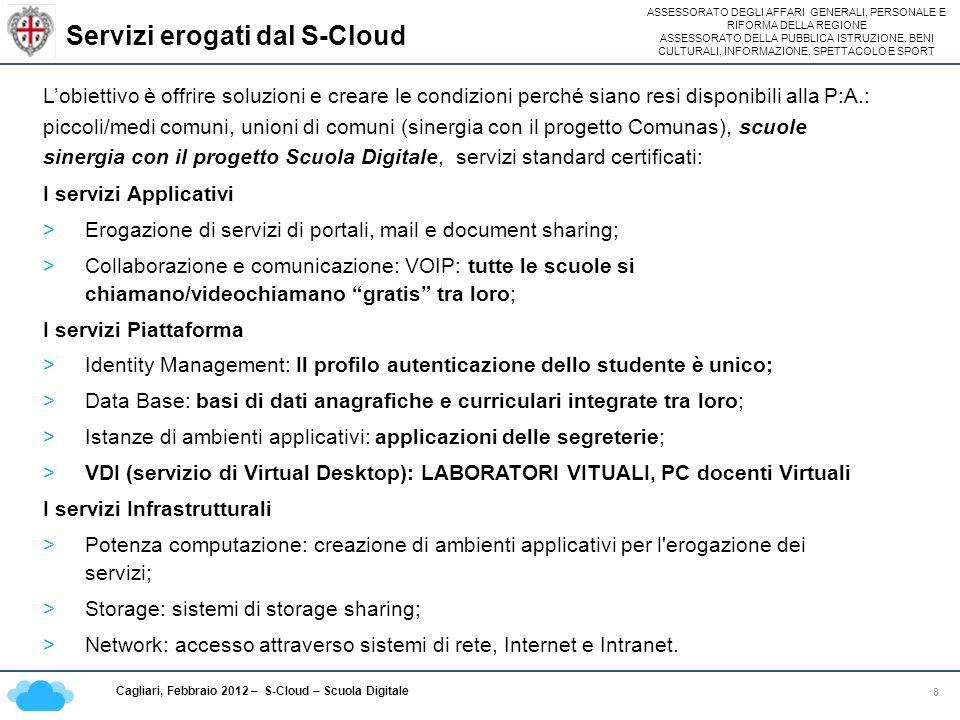 ASSESSORATO DEGLI AFFARI GENERALI, PERSONALE E RIFORMA DELLA REGIONE ASSESSORATO DELLA PUBBLICA ISTRUZIONE, BENI CULTURALI, INFORMAZIONE, SPETTACOLO E SPORT Cagliari, Febbraio 2012 – S-Cloud – Scuola Digitale Catalogo servizi da offrire alle altre PA 19 Fornitori di servizi per le altre Pubbliche Amministrazioni: La Sardegna per la sua posizione strategica si candida per offrire i servizi di Disaster Recovery (salvataggio sicuro e protetto dei dati) delle altre pubbliche amministrazioni a livello nazionale: INPS, Ministeri, altre Regioni e Enti Locali.