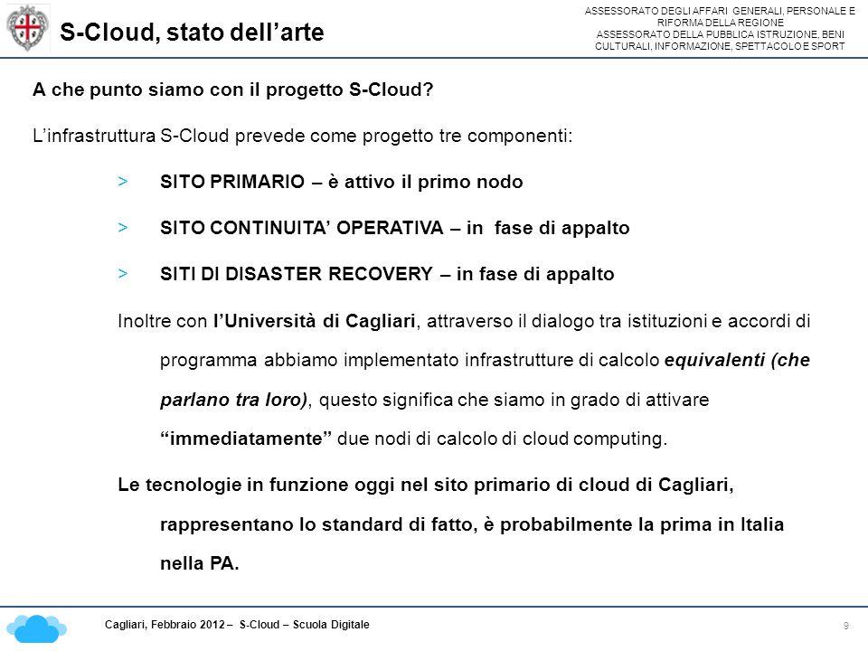 ASSESSORATO DEGLI AFFARI GENERALI, PERSONALE E RIFORMA DELLA REGIONE ASSESSORATO DELLA PUBBLICA ISTRUZIONE, BENI CULTURALI, INFORMAZIONE, SPETTACOLO E SPORT Cagliari, Febbraio 2012 – S-Cloud – Scuola Digitale S-Cloud, stato dellarte 9 A che punto siamo con il progetto S-Cloud.