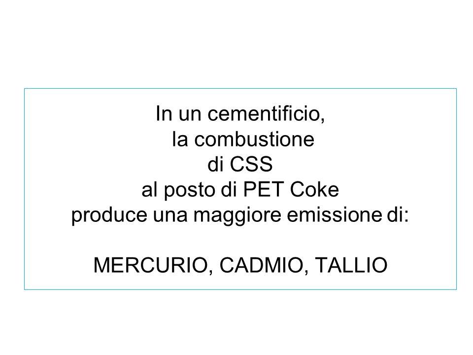 In un cementificio, la combustione di CSS al posto di PET Coke produce una maggiore emissione di: MERCURIO, CADMIO, TALLIO