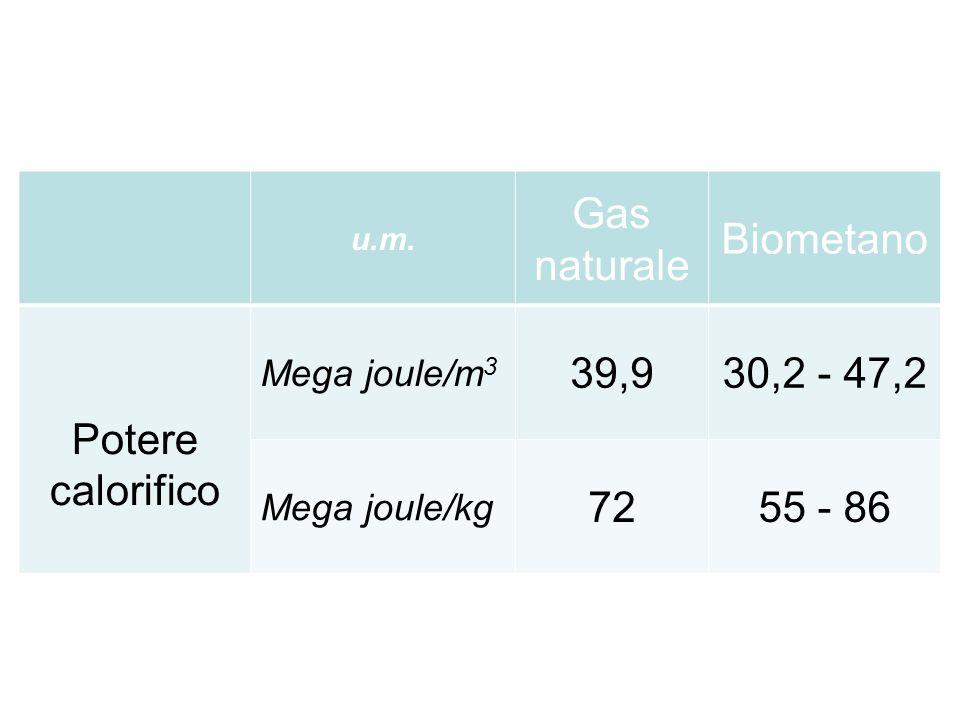u.m. Gas naturale Biometano Potere calorifico Mega joule/m 3 39,930,2 - 47,2 Mega joule/kg 7255 - 86