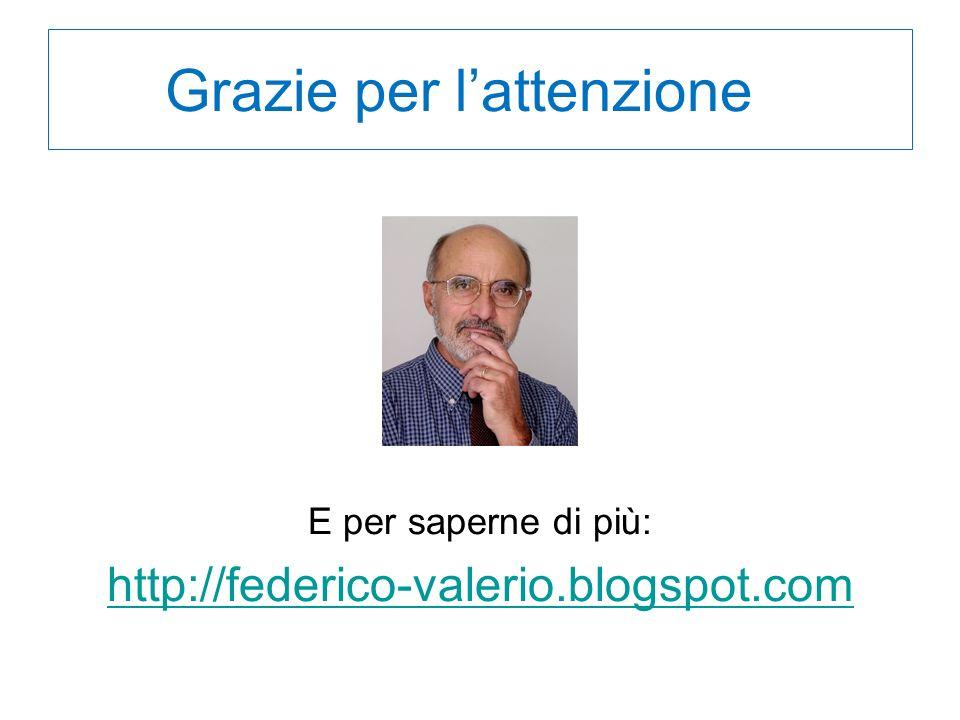 Grazie per lattenzione l E per saperne di più: http://federico-valerio.blogspot.com