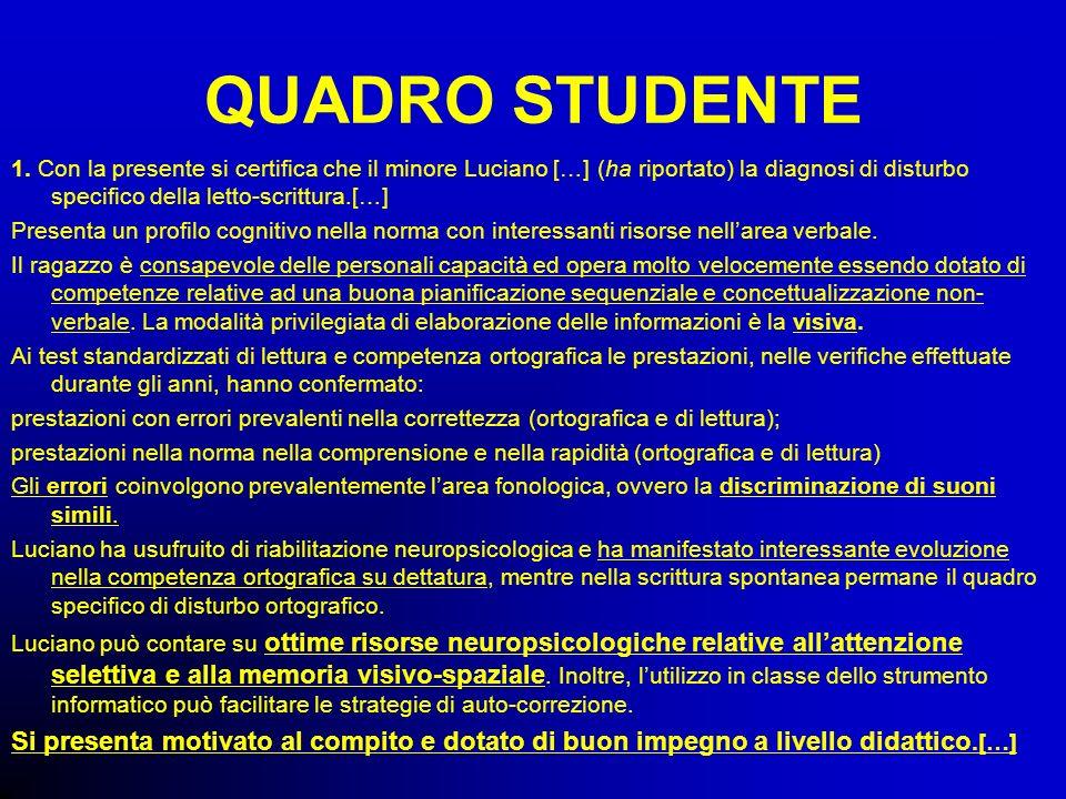 QUADRO STUDENTE 1. Con la presente si certifica che il minore Luciano […] (ha riportato) la diagnosi di disturbo specifico della letto-scrittura.[…] P