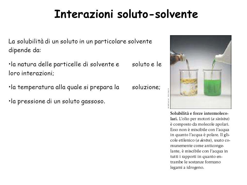 Interazioni soluto-solvente La solubilità di un soluto in un particolare solvente dipende da: la natura delle particelle di solvente e soluto e le loro interazioni; la temperatura alla quale si prepara la soluzione; la pressione di un soluto gassoso.