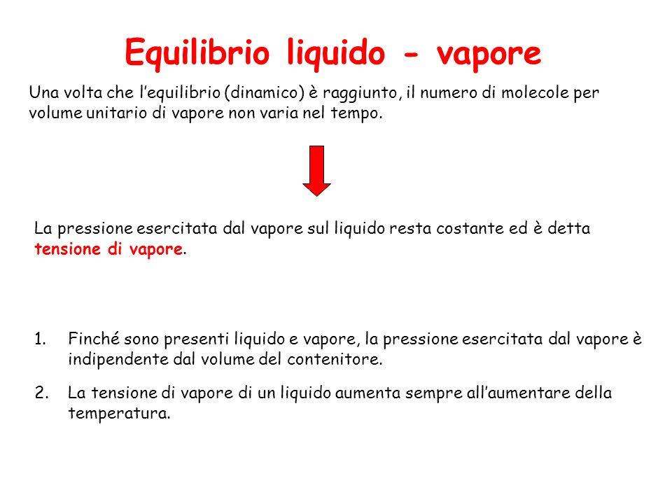 Una volta che lequilibrio (dinamico) è raggiunto, il numero di molecole per volume unitario di vapore non varia nel tempo.