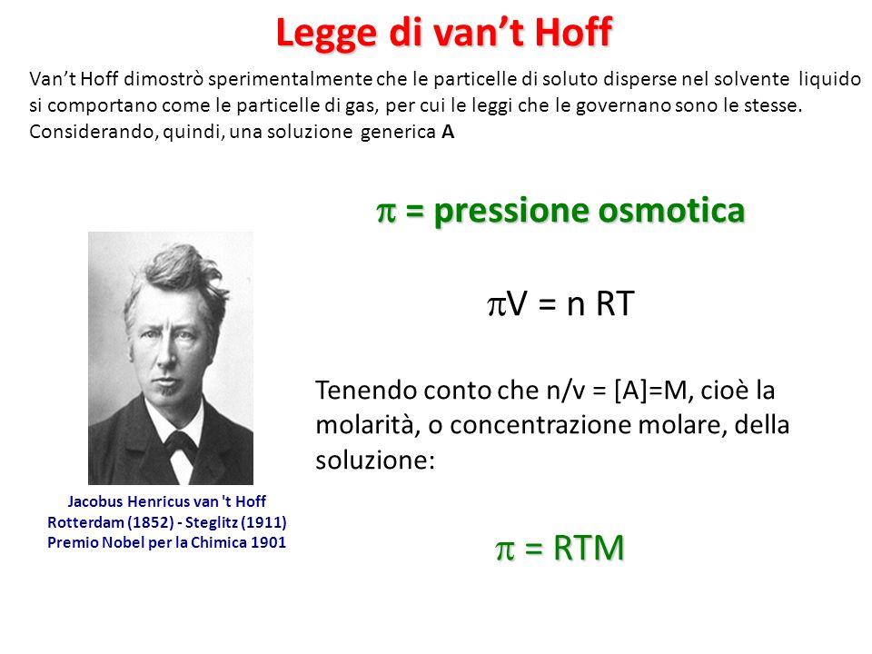 = pressione osmotica = pressione osmotica V = n RT Tenendo conto che n/v = [A]=M, cioè la molarità, o concentrazione molare, della soluzione: = RTM = RTM Jacobus Henricus van t Hoff Rotterdam (1852) - Steglitz (1911) Premio Nobel per la Chimica 1901 Legge di vant Hoff Vant Hoff dimostrò sperimentalmente che le particelle di soluto disperse nel solvente liquido si comportano come le particelle di gas, per cui le leggi che le governano sono le stesse.