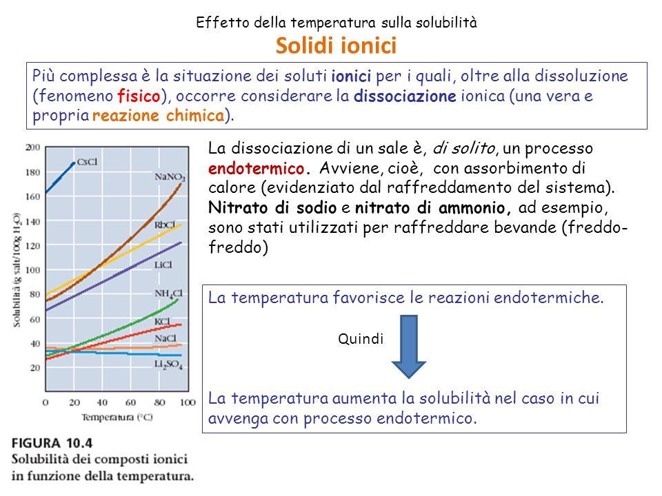Effetto della temperatura sulla solubilità Più complessa è la situazione dei soluti ionici per i quali, oltre alla dissoluzione (fenomeno fisico), occorre considerare la dissociazione ionica (una vera e propria reazione chimica).