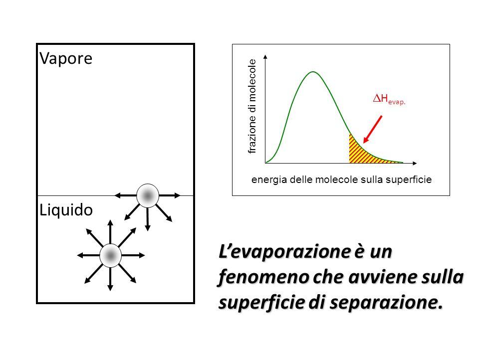Liquido Vapore energia delle molecole sulla superficie frazione di molecole H evap.