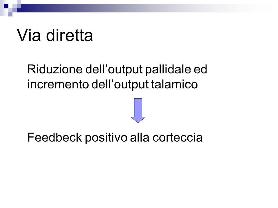 Via diretta Riduzione delloutput pallidale ed incremento delloutput talamico Feedbeck positivo alla corteccia