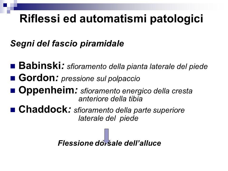 Riflessi ed automatismi patologici Segni del fascio piramidale Babinski: sfioramento della pianta laterale del piede Gordon: pressione sul polpaccio O