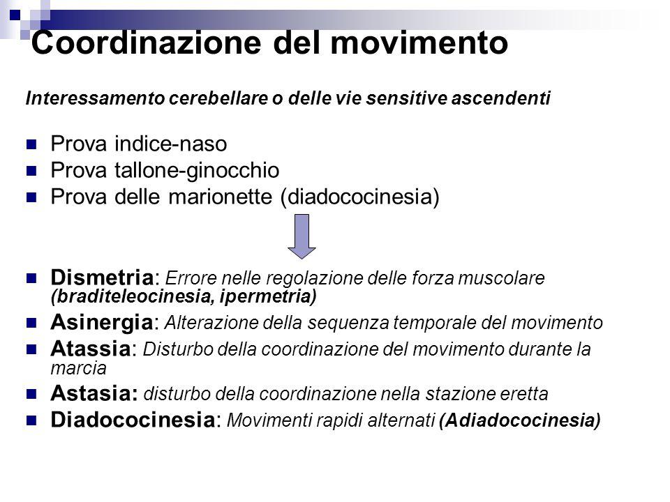 Coordinazione del movimento Interessamento cerebellare o delle vie sensitive ascendenti Prova indice-naso Prova tallone-ginocchio Prova delle marionet