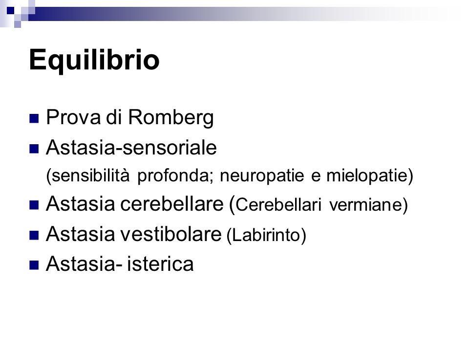 Equilibrio Prova di Romberg Astasia-sensoriale (sensibilità profonda; neuropatie e mielopatie) Astasia cerebellare ( Cerebellari vermiane) Astasia ves
