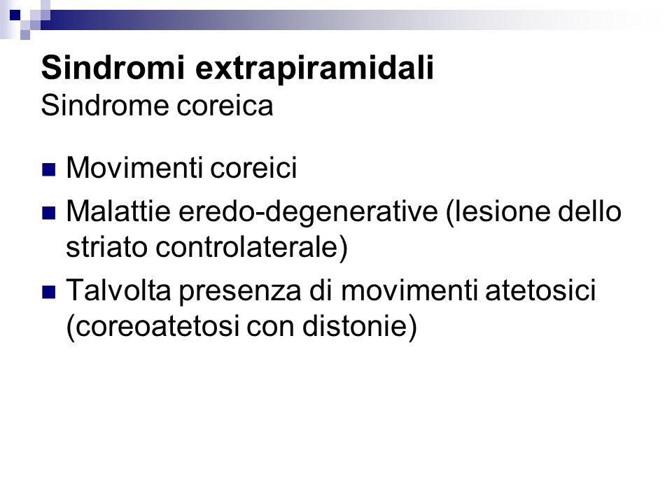 Sindromi extrapiramidali Sindrome coreica Movimenti coreici Malattie eredo-degenerative (lesione dello striato controlaterale) Talvolta presenza di mo