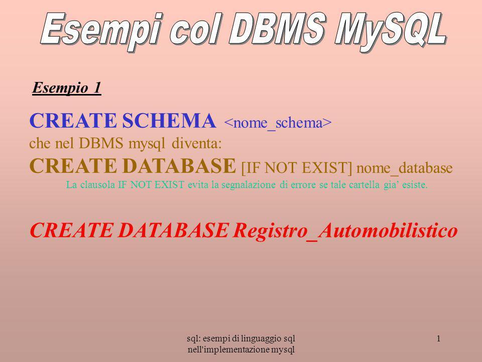 sql: esempi di linguaggio sql nell implementazione mysql 1 CREATE SCHEMA che nel DBMS mysql diventa: CREATE DATABASE [IF NOT EXIST] nome_database La clausola IF NOT EXIST evita la segnalazione di errore se tale cartella gia esiste.