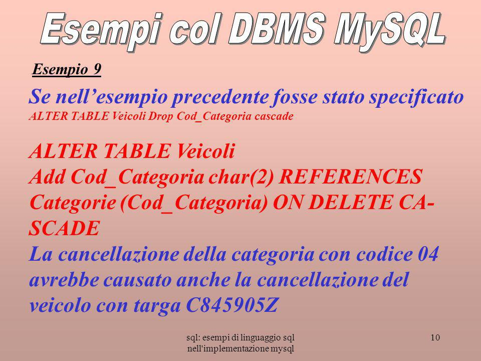 sql: esempi di linguaggio sql nell'implementazione mysql 10 Se nellesempio precedente fosse stato specificato ALTER TABLE Veicoli Drop Cod_Categoria c