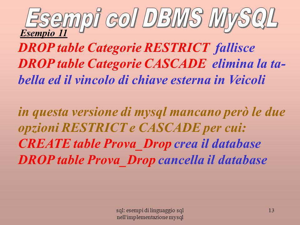 sql: esempi di linguaggio sql nell implementazione mysql 13 DROP table Categorie RESTRICT fallisce DROP table Categorie CASCADE elimina la ta- bella ed il vincolo di chiave esterna in Veicoli in questa versione di mysql mancano però le due opzioni RESTRICT e CASCADE per cui: CREATE table Prova_Drop crea il database DROP table Prova_Drop cancella il database Esempio 11