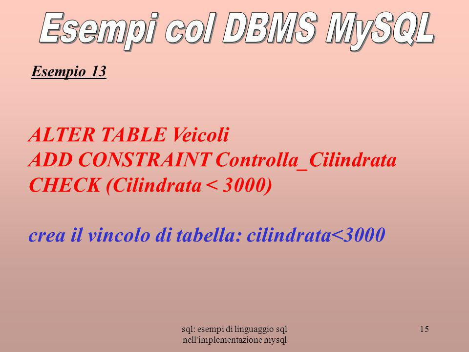 sql: esempi di linguaggio sql nell implementazione mysql 15 ALTER TABLE Veicoli ADD CONSTRAINT Controlla_Cilindrata CHECK (Cilindrata < 3000) crea il vincolo di tabella: cilindrata<3000 Esempio 13