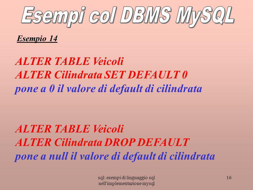 sql: esempi di linguaggio sql nell implementazione mysql 16 ALTER TABLE Veicoli ALTER Cilindrata SET DEFAULT 0 pone a 0 il valore di default di cilindrata ALTER TABLE Veicoli ALTER Cilindrata DROP DEFAULT pone a null il valore di default di cilindrata Esempio 14