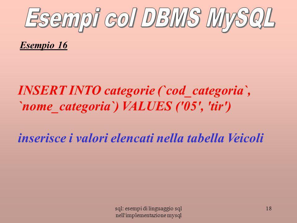 sql: esempi di linguaggio sql nell implementazione mysql 18 INSERT INTO categorie (`cod_categoria`, `nome_categoria`) VALUES ( 05 , tir ) inserisce i valori elencati nella tabella Veicoli Esempio 16