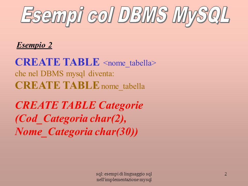 sql: esempi di linguaggio sql nell implementazione mysql 2 CREATE TABLE che nel DBMS mysql diventa: CREATE TABLE nome_tabella CREATE TABLE Categorie (Cod_Categoria char(2), Nome_Categoria char(30)) Esempio 2