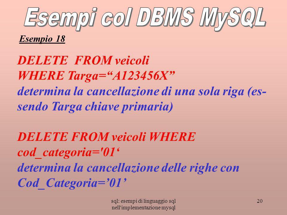 sql: esempi di linguaggio sql nell'implementazione mysql 20 DELETE FROM veicoli WHERE Targa=A123456X determina la cancellazione di una sola riga (es-
