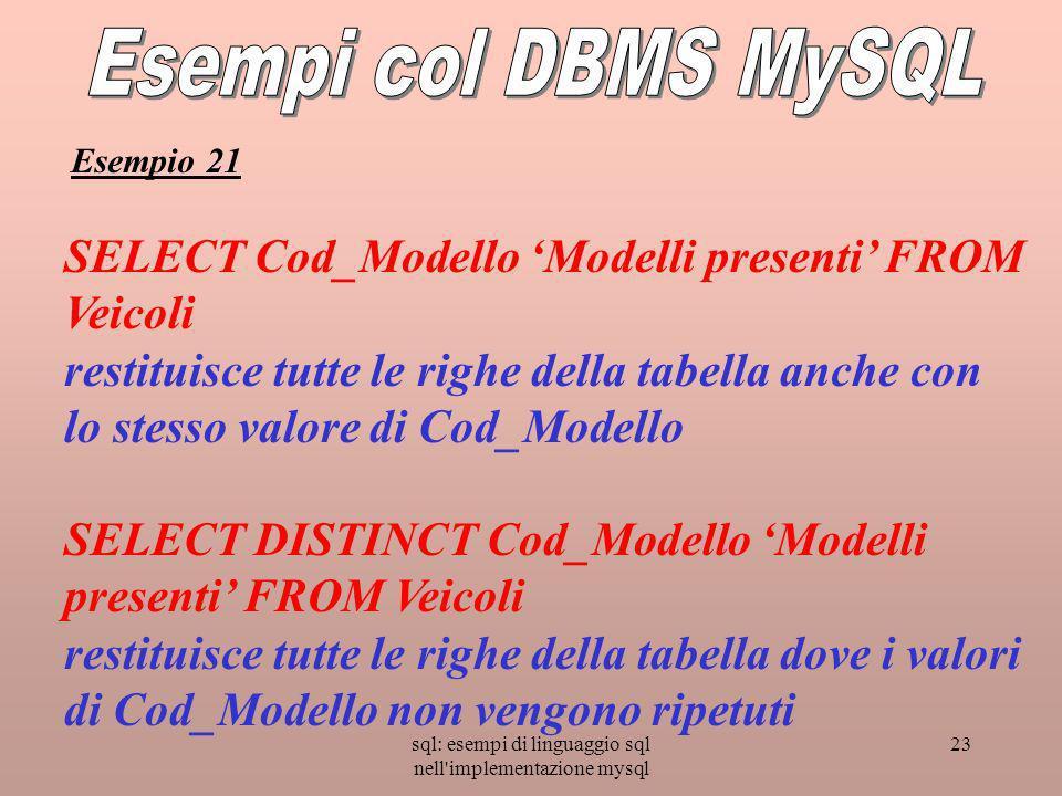 sql: esempi di linguaggio sql nell implementazione mysql 23 SELECT Cod_Modello Modelli presenti FROM Veicoli restituisce tutte le righe della tabella anche con lo stesso valore di Cod_Modello SELECT DISTINCT Cod_Modello Modelli presenti FROM Veicoli restituisce tutte le righe della tabella dove i valori di Cod_Modello non vengono ripetuti Esempio 21