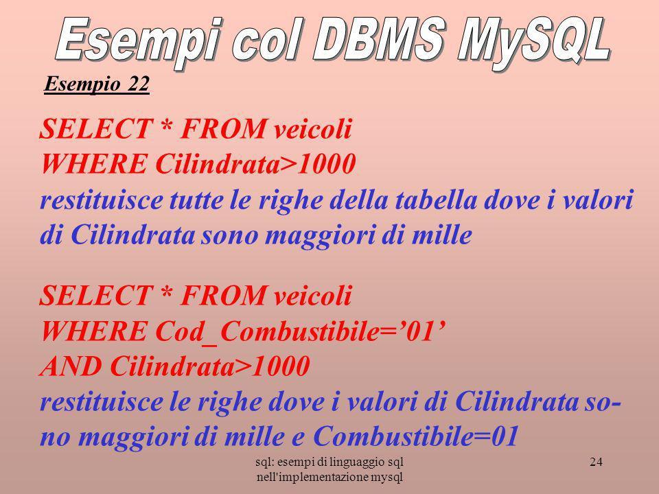 sql: esempi di linguaggio sql nell'implementazione mysql 24 SELECT * FROM veicoli WHERE Cilindrata>1000 restituisce tutte le righe della tabella dove