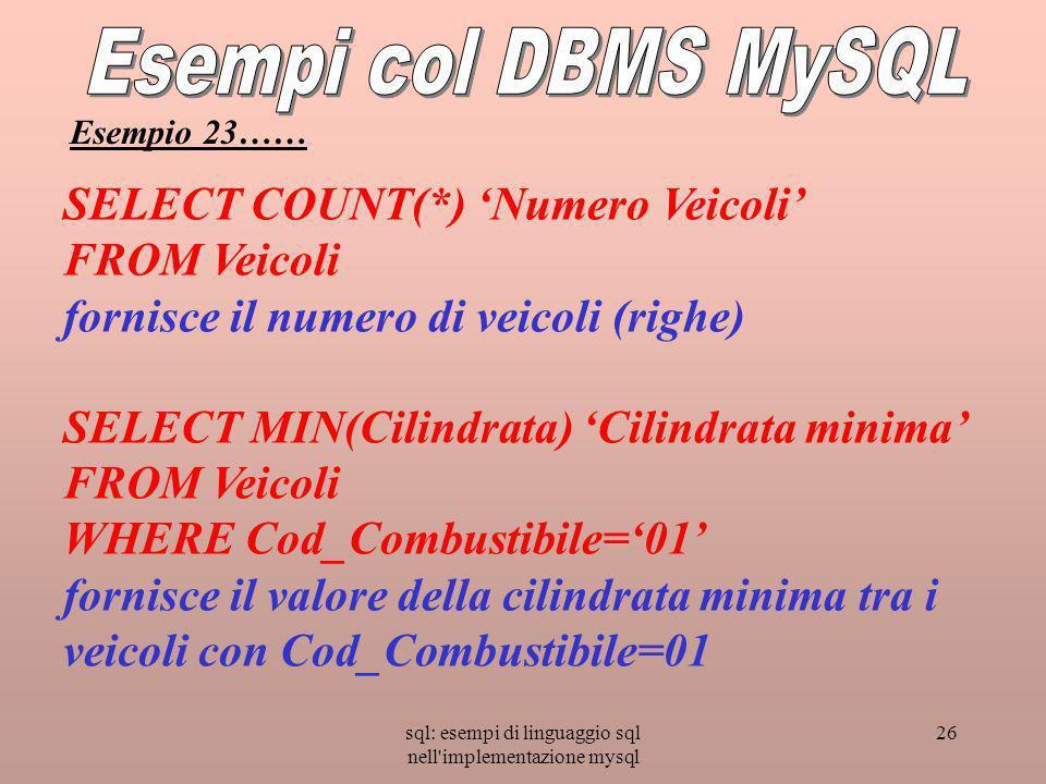 sql: esempi di linguaggio sql nell implementazione mysql 26 SELECT COUNT(*) Numero Veicoli FROM Veicoli fornisce il numero di veicoli (righe) SELECT MIN(Cilindrata) Cilindrata minima FROM Veicoli WHERE Cod_Combustibile=01 fornisce il valore della cilindrata minima tra i veicoli con Cod_Combustibile=01 Esempio 23……
