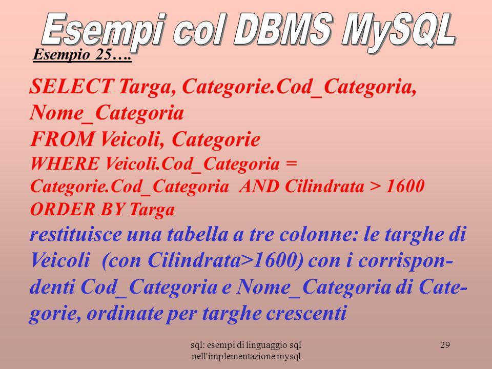 sql: esempi di linguaggio sql nell implementazione mysql 29 SELECT Targa, Categorie.Cod_Categoria, Nome_Categoria FROM Veicoli, Categorie WHERE Veicoli.Cod_Categoria = Categorie.Cod_Categoria AND Cilindrata > 1600 ORDER BY Targa restituisce una tabella a tre colonne: le targhe di Veicoli (con Cilindrata>1600) con i corrispon- denti Cod_Categoria e Nome_Categoria di Cate- gorie, ordinate per targhe crescenti Esempio 25….
