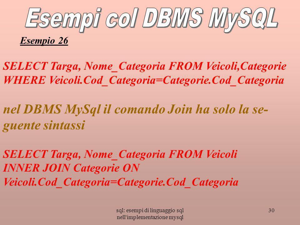 sql: esempi di linguaggio sql nell implementazione mysql 30 SELECT Targa, Nome_Categoria FROM Veicoli,Categorie WHERE Veicoli.Cod_Categoria=Categorie.Cod_Categoria nel DBMS MySql il comando Join ha solo la se- guente sintassi SELECT Targa, Nome_Categoria FROM Veicoli INNER JOIN Categorie ON Veicoli.Cod_Categoria=Categorie.Cod_Categoria Esempio 26