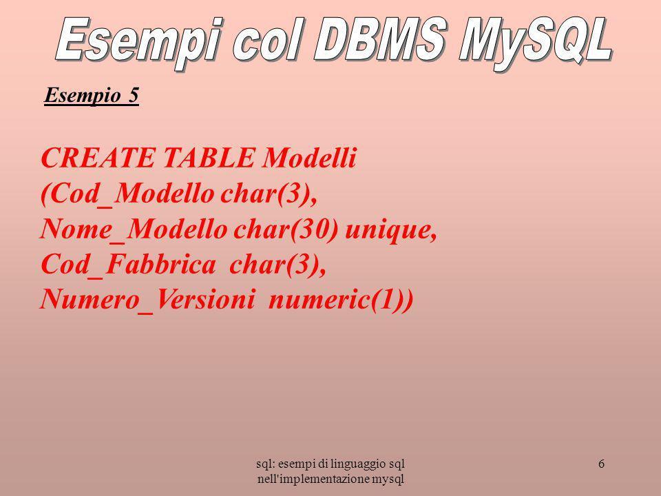 sql: esempi di linguaggio sql nell implementazione mysql 6 CREATE TABLE Modelli (Cod_Modello char(3), Nome_Modello char(30) unique, Cod_Fabbrica char(3), Numero_Versioni numeric(1)) Esempio 5